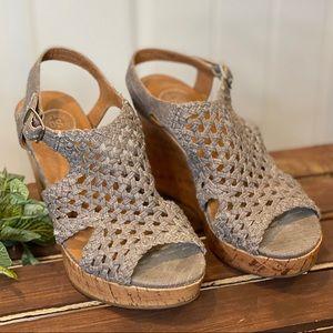 Cute Weaved Grey Wedge Sandals